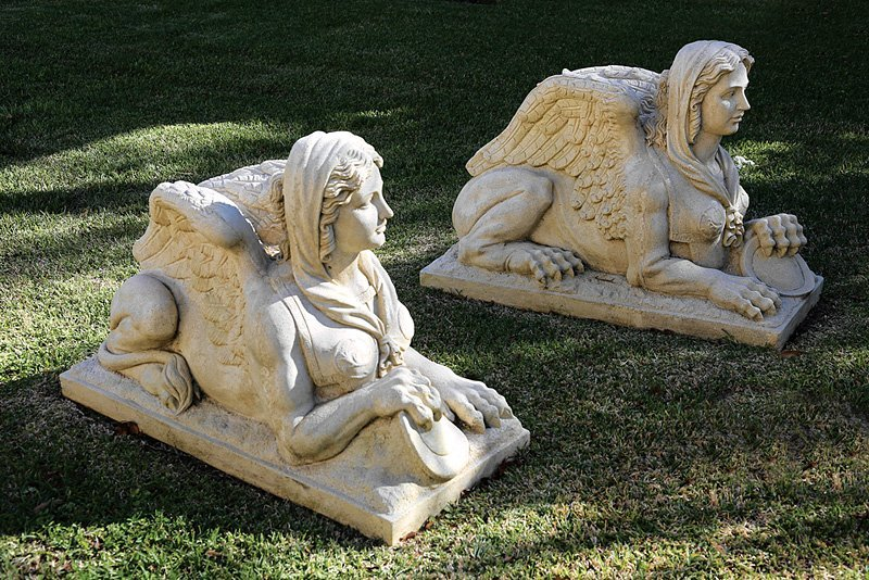 Pair of Classical-Style Cast Sandstone Sphinxes - 2