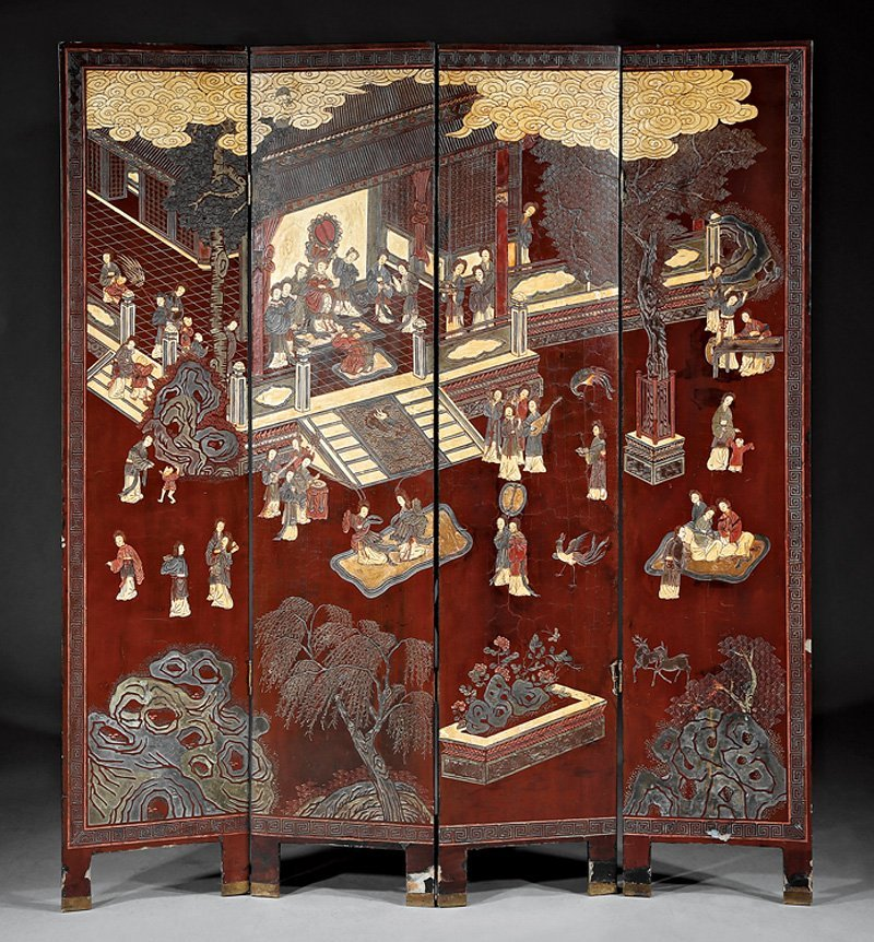 Chinese Carved Red Lacquer Four Panel Screen