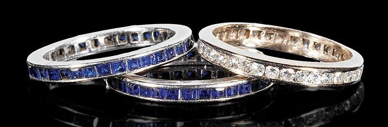 Three 18 kt. White Gold Gem-Set Eternity Rings