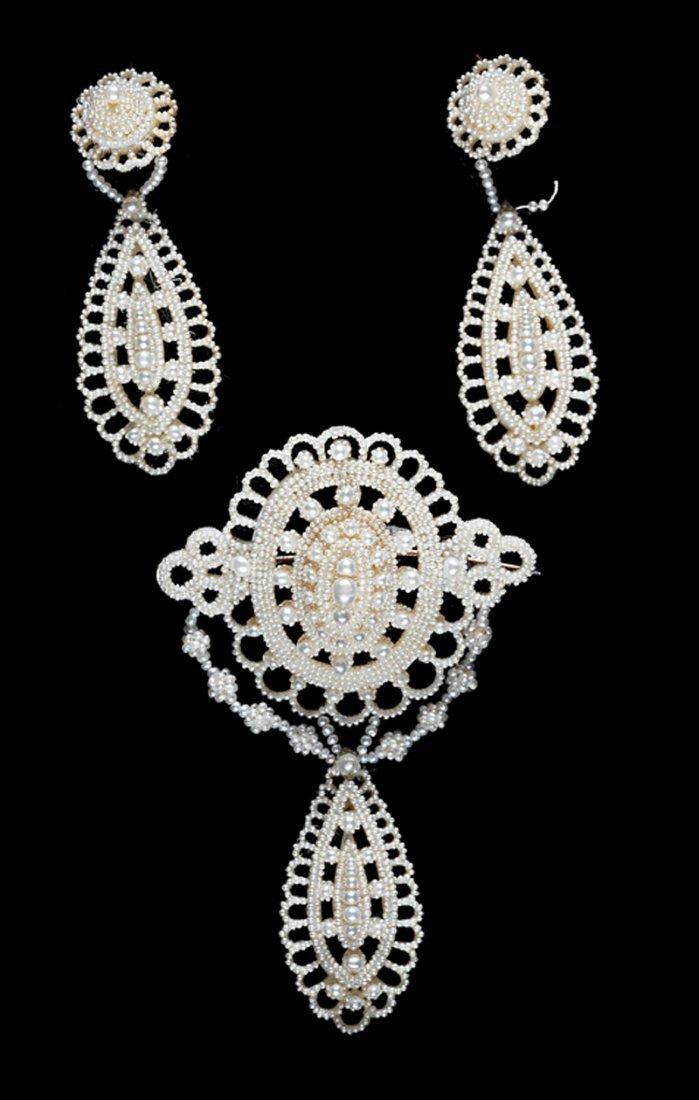 Seed Pearl, Mother-of-Pearl Brooch/Earring Suite