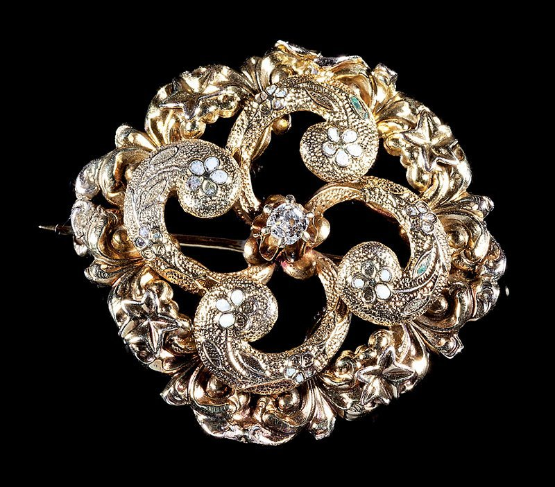 American 14 kt. Yellow Gold and Enamel Flower Brooch