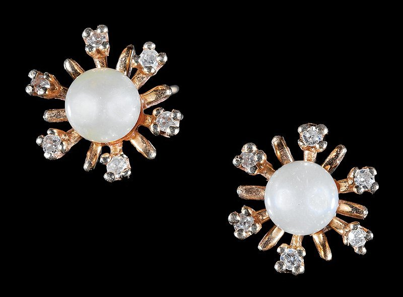 Gold, Cultured Pearl and Diamond Snowflake Earrings