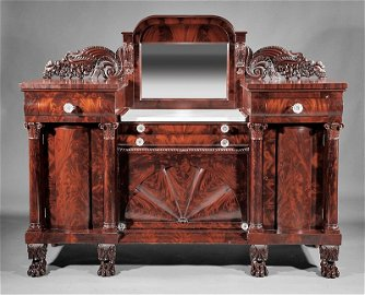 Carved Mahogany Sideboard attr. Quervelle