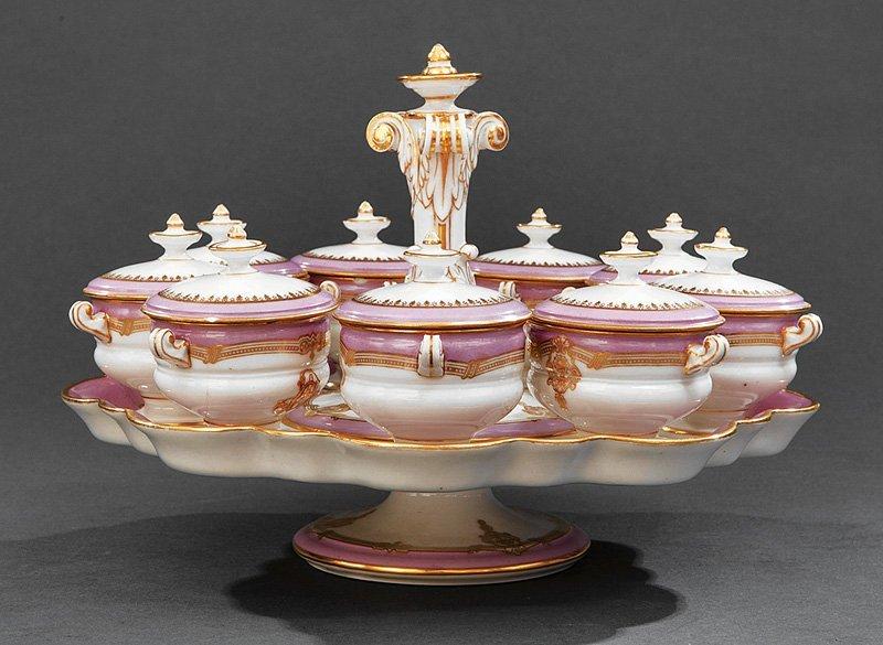 Paris Lavender and Gilt Porcelain Pots-de-Creme Set