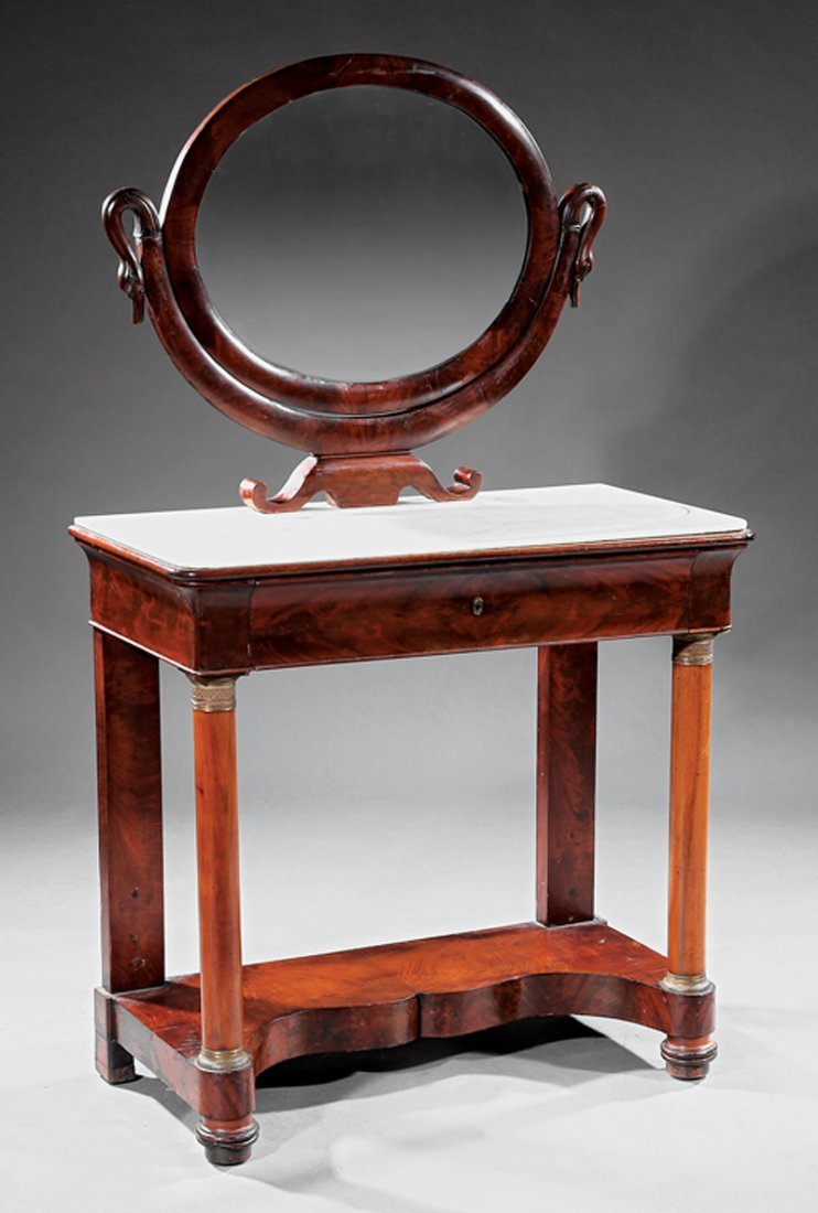 Inlaid and Carved Mahogany Dressing Table