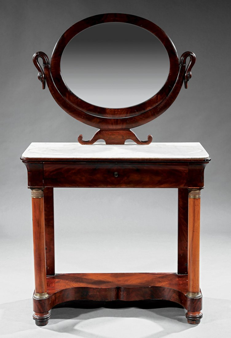 Inlaid and Carved Mahogany Dressing Table - 2