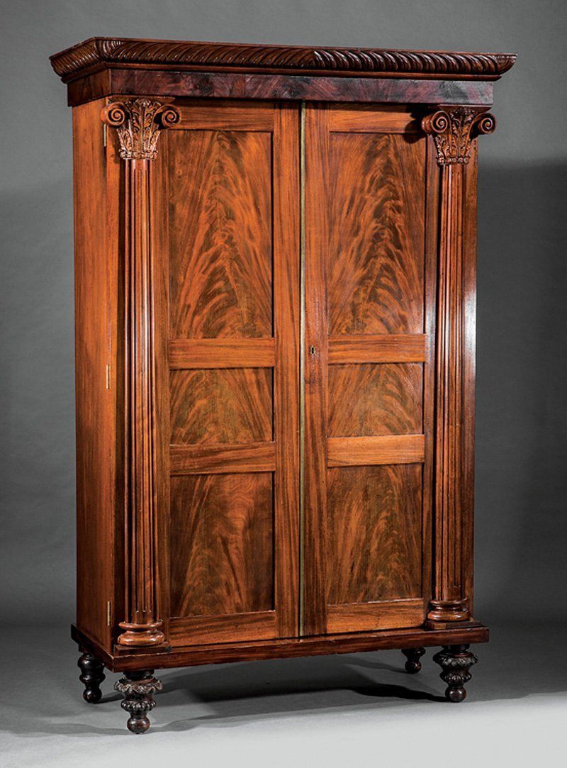 American Classical Carved Mahogany Armoire - 3