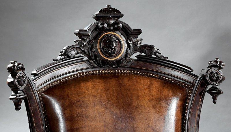 Carved Rosewood, Burl Walnut Armchair, attr. Jelliff - 2