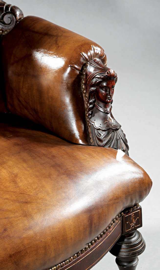 Carved Rosewood, Burl Walnut Armchair, attr. Jelliff - 3