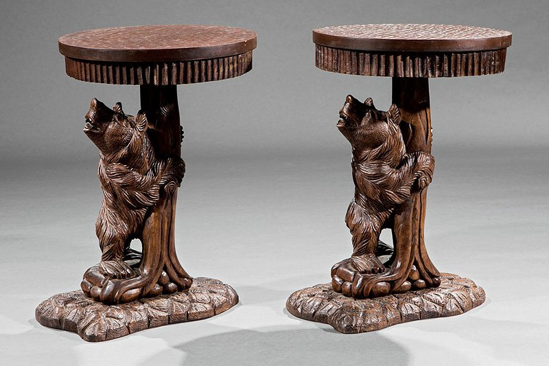 Pair of Black Forest-Style Carved Walnut Side Tables