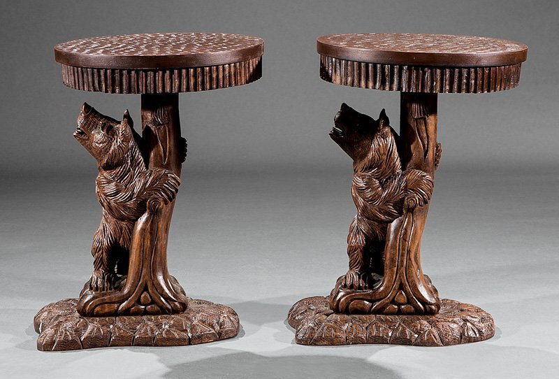 Pair of Black Forest-Style Carved Walnut Side Tables - 2