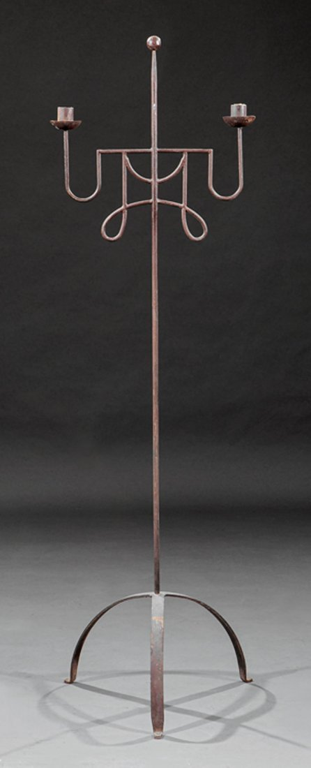 Italian Wrought Iron Two-Light Torchere