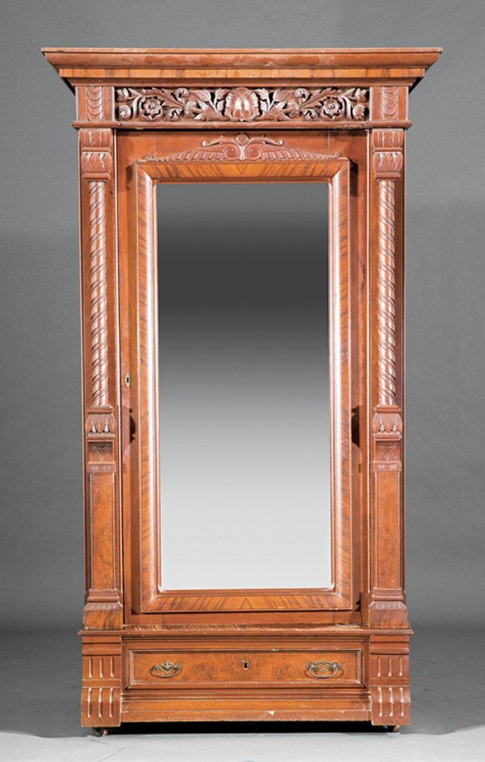 American Aesthetic Carved Walnut Armoire - 2