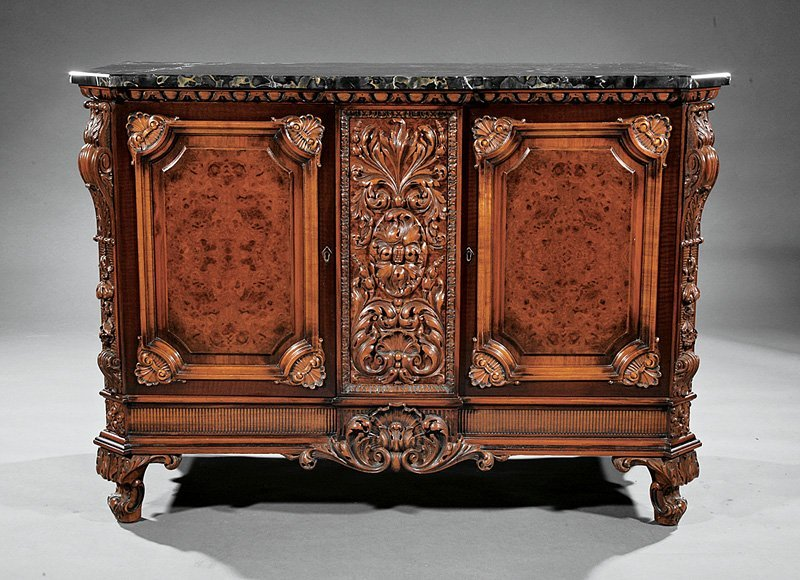 Colonial Revival Carved and Burled Walnut Buffet