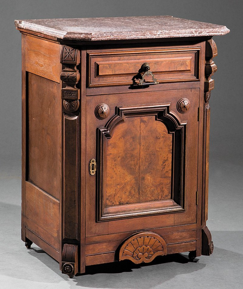 American Carved and Burl Walnut Cabinet