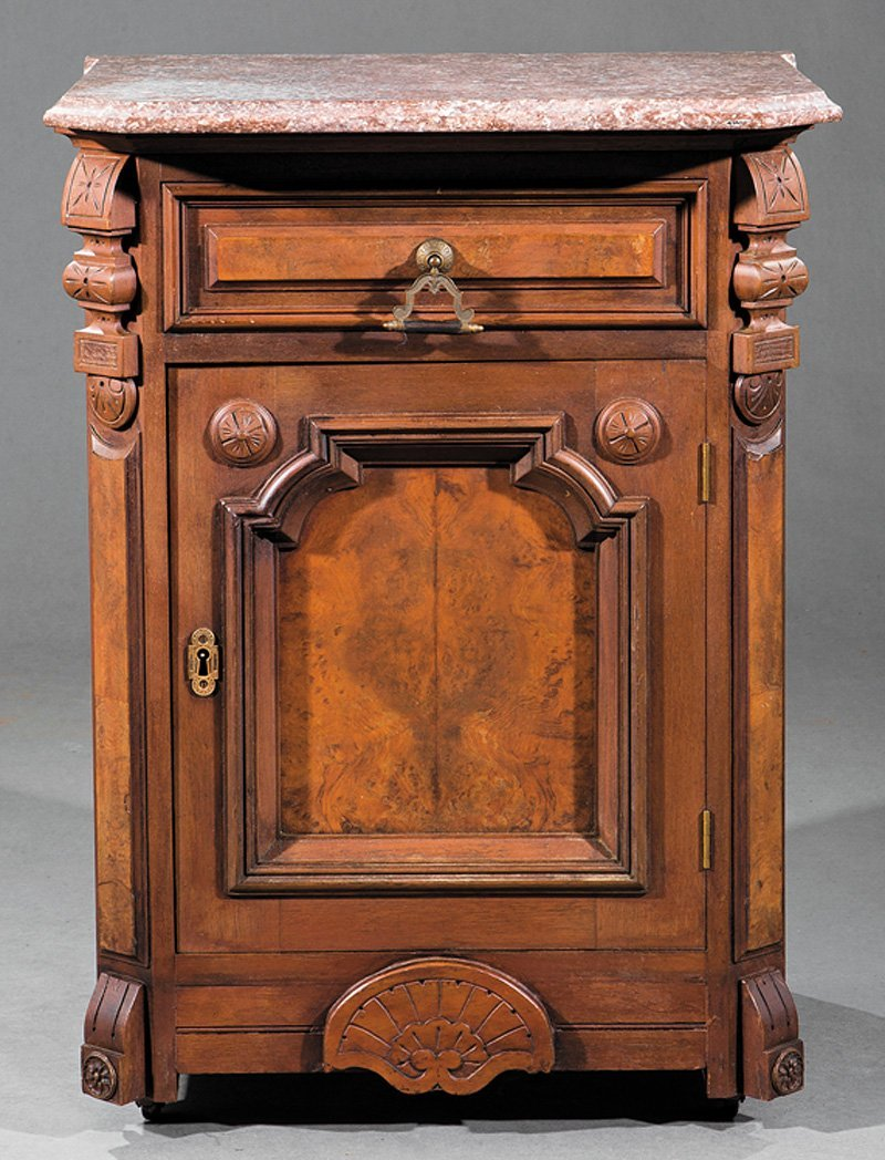 American Carved and Burl Walnut Cabinet - 2