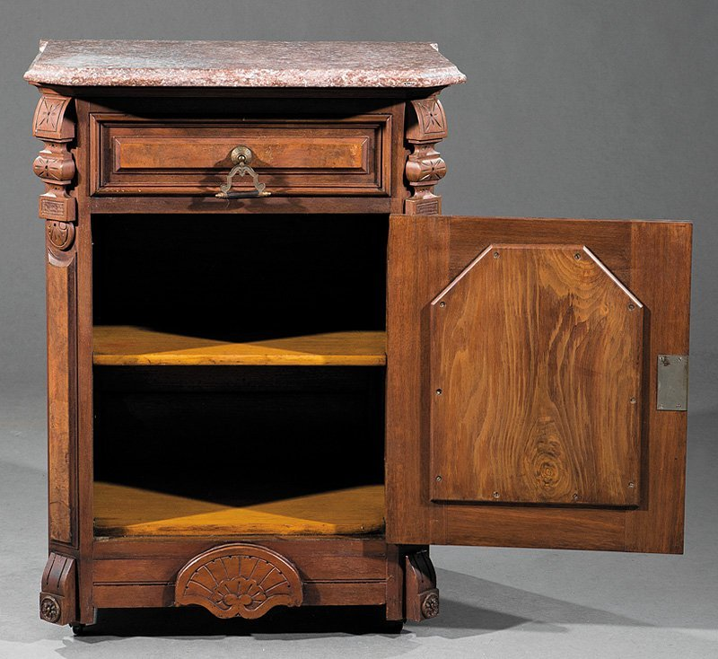 American Carved and Burl Walnut Cabinet - 3