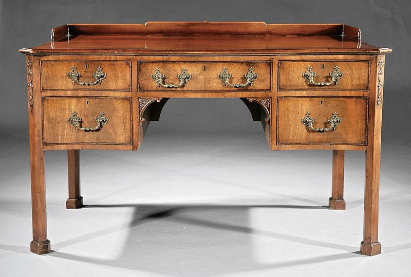 Chippendale-Style Carved Mahogany Writing Desk