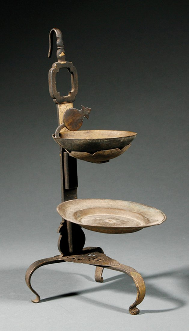 Chinese Bronze Oil Lamp, Famille Rose Porcelain Box