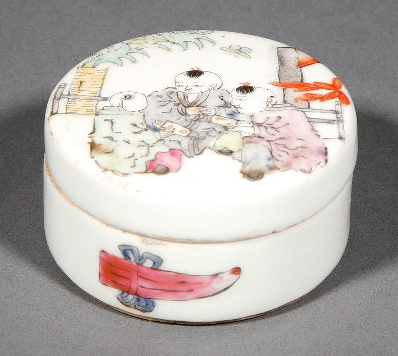 Chinese Bronze Oil Lamp, Famille Rose Porcelain Box - 2