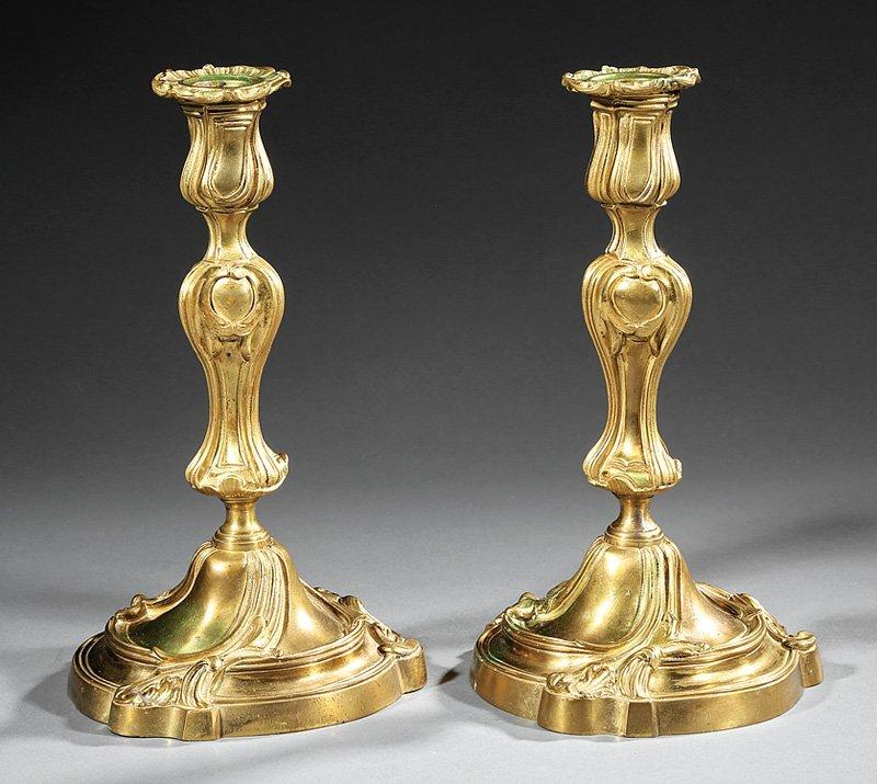 Pair of Napoleon III Bronze Candlesticks