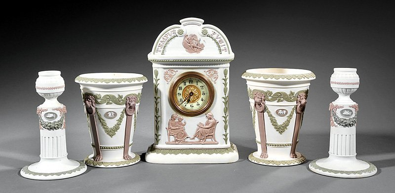 Wedgwood Jasperware Clock Garniture