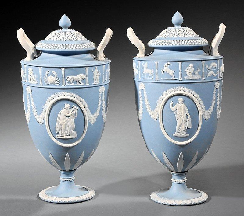 Pair of Wedgwood Blue Jasperware Covered Urns