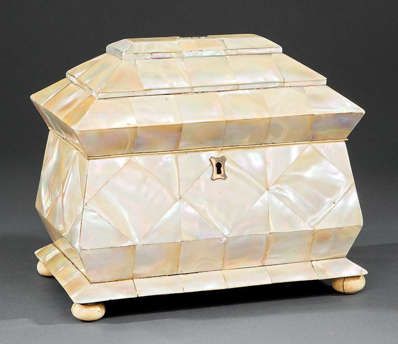 Mother-of-Pearl Sarcophagus-Form Tea Caddy