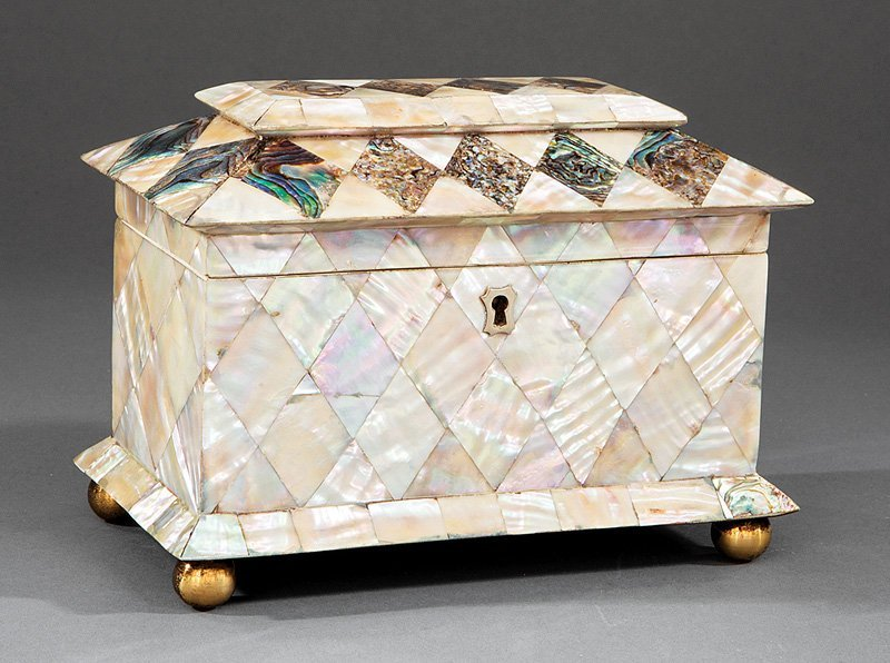 George IV Mother-of-Pearl and Abalone Tea Caddy