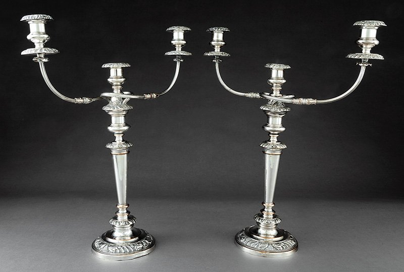 Georgian-Style Silverplate Three-Light Candelabra