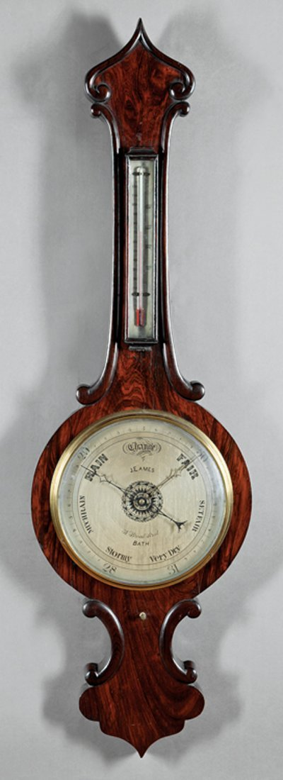 William IV Carved Rosewood Barometer/Thermometer