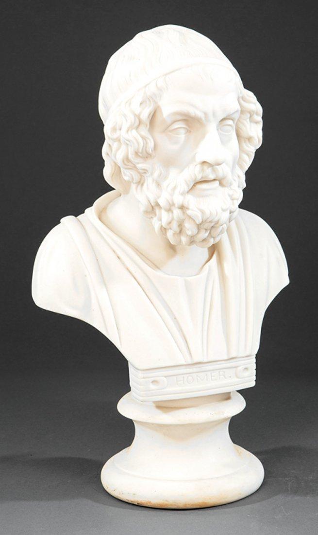 "British Parian Ware Bust of ""Homer"""