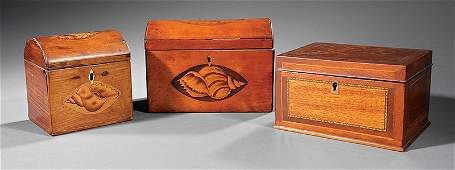 Three George III Inlaid Satinwood Tea Caddies