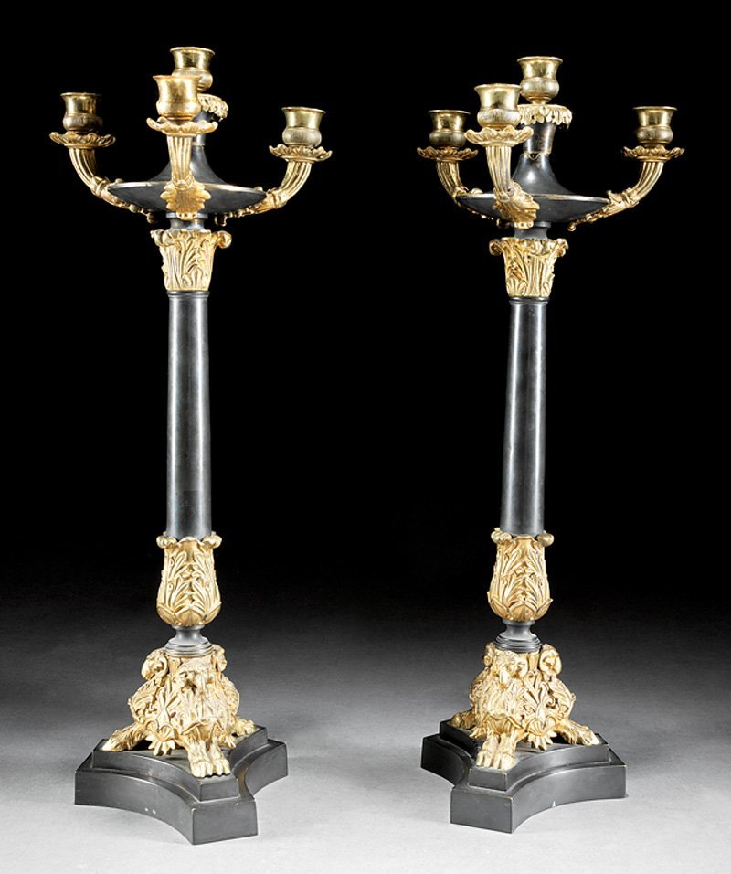 Gilt and Patinated Bronze Four-Light Candelabra