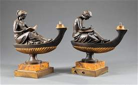 Grand Tour Gilt Patinated Bronze Figural Lamps