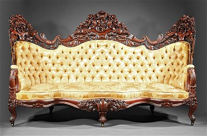 Carved and Laminated Rosewood Sofa, attr. Belter