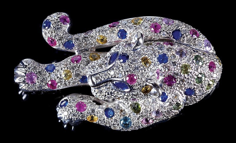 Gold, Diamond, Ruby, Sapphire Panther Clip/Brooch