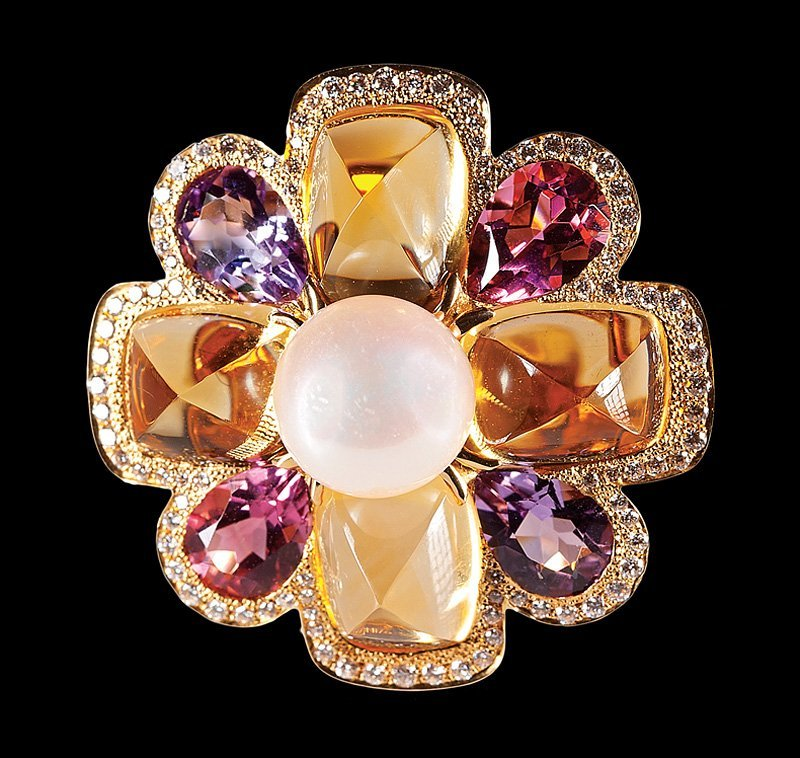 Chanel Gold and Gemstone Floral Cluster Ring