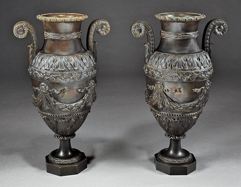 Pair of Continental Patinated Bronze Urns