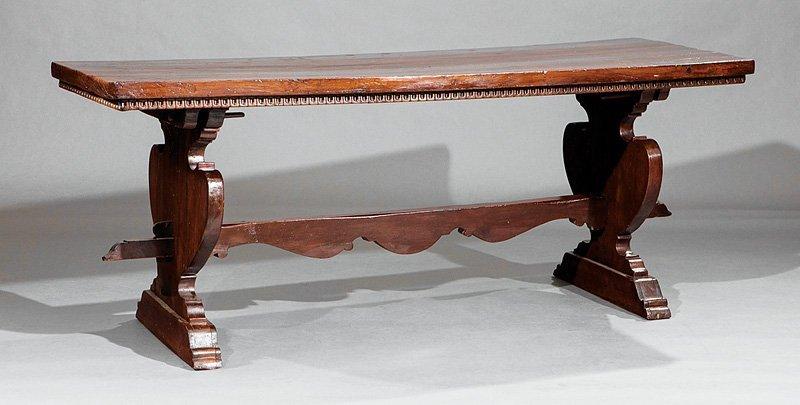 Spanish Carved Walnut Trestle Table