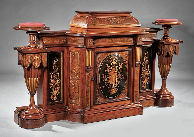 Marquetry, Burl Walnut Cabinet and Pedestals