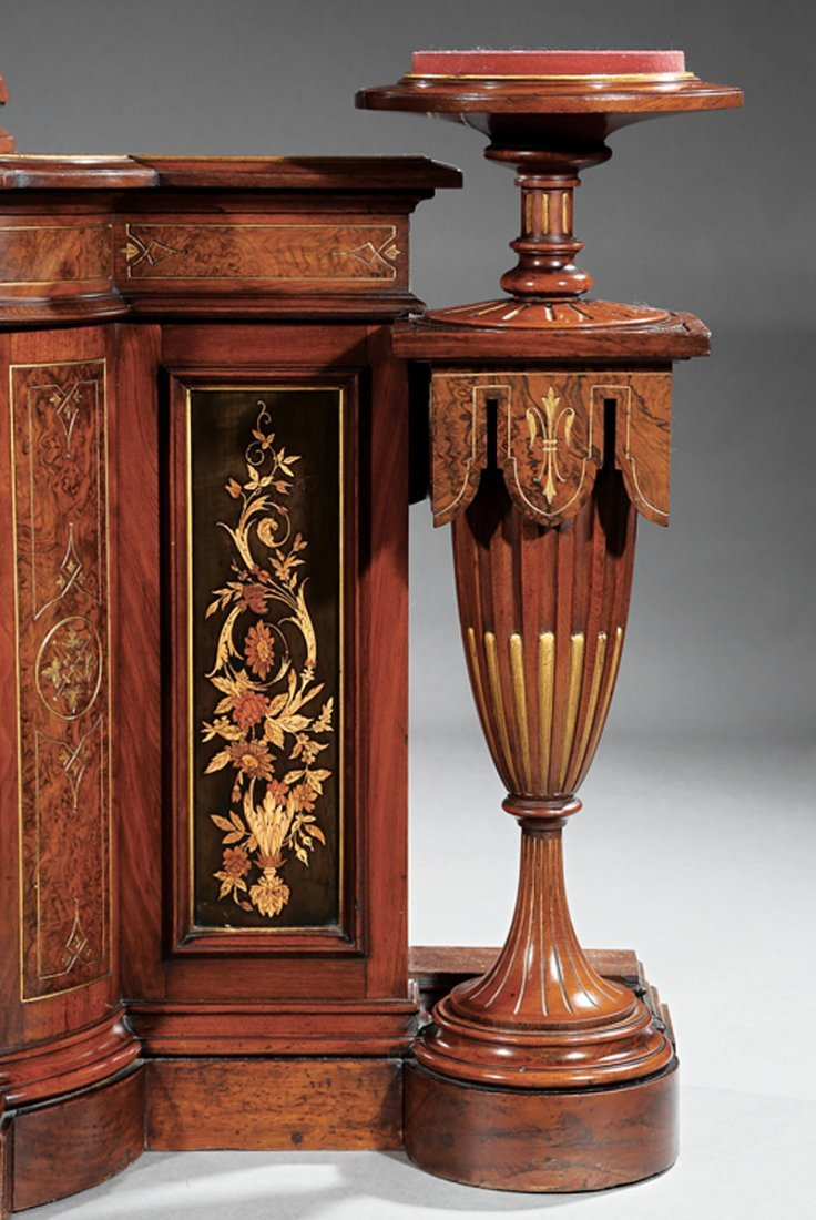 Marquetry, Burl Walnut Cabinet and Pedestals - 4