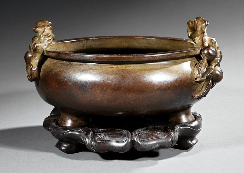 Chinese Patinated Bronze Tripod Censer