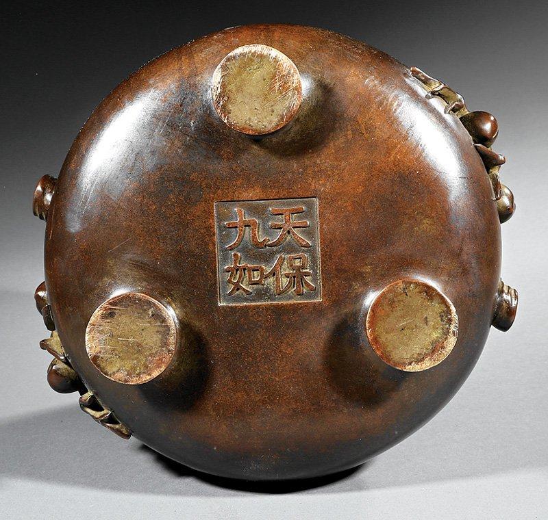 Chinese Patinated Bronze Tripod Censer - 3