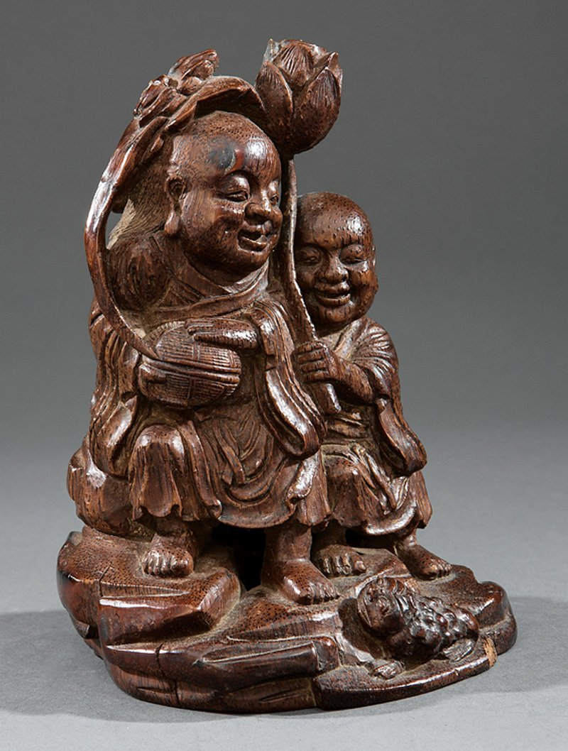 Chinese Bamboo Figural of the HeHe Erxian Twins