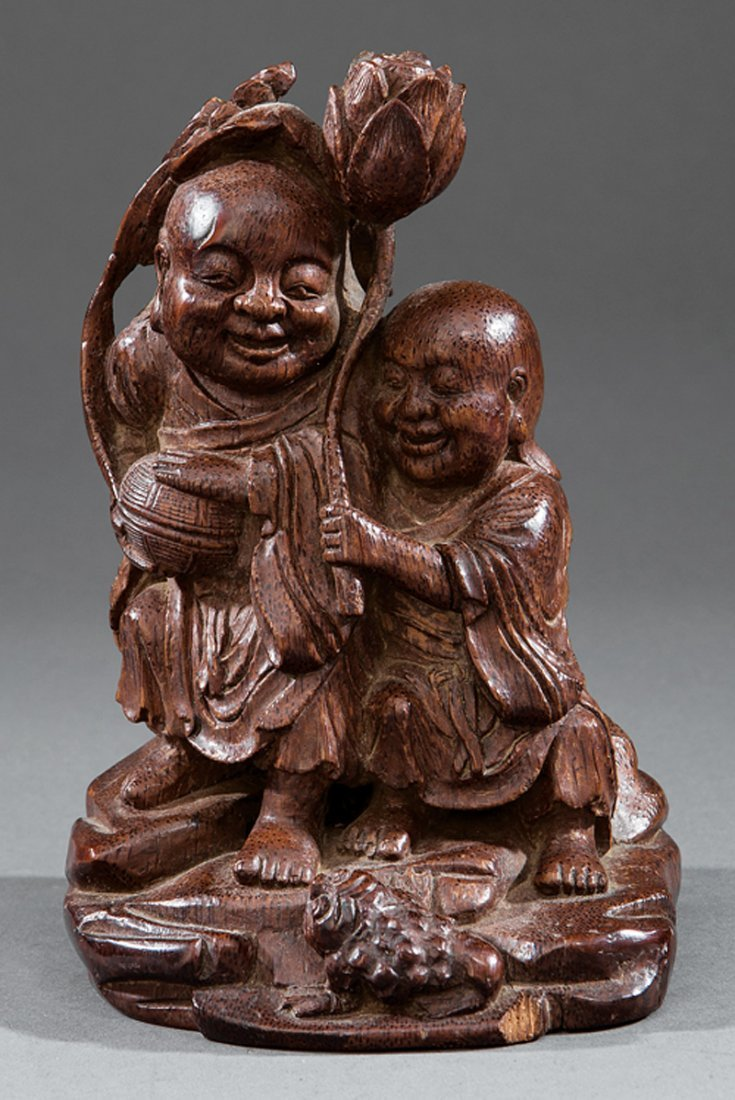 Chinese Bamboo Figural of the HeHe Erxian Twins - 2