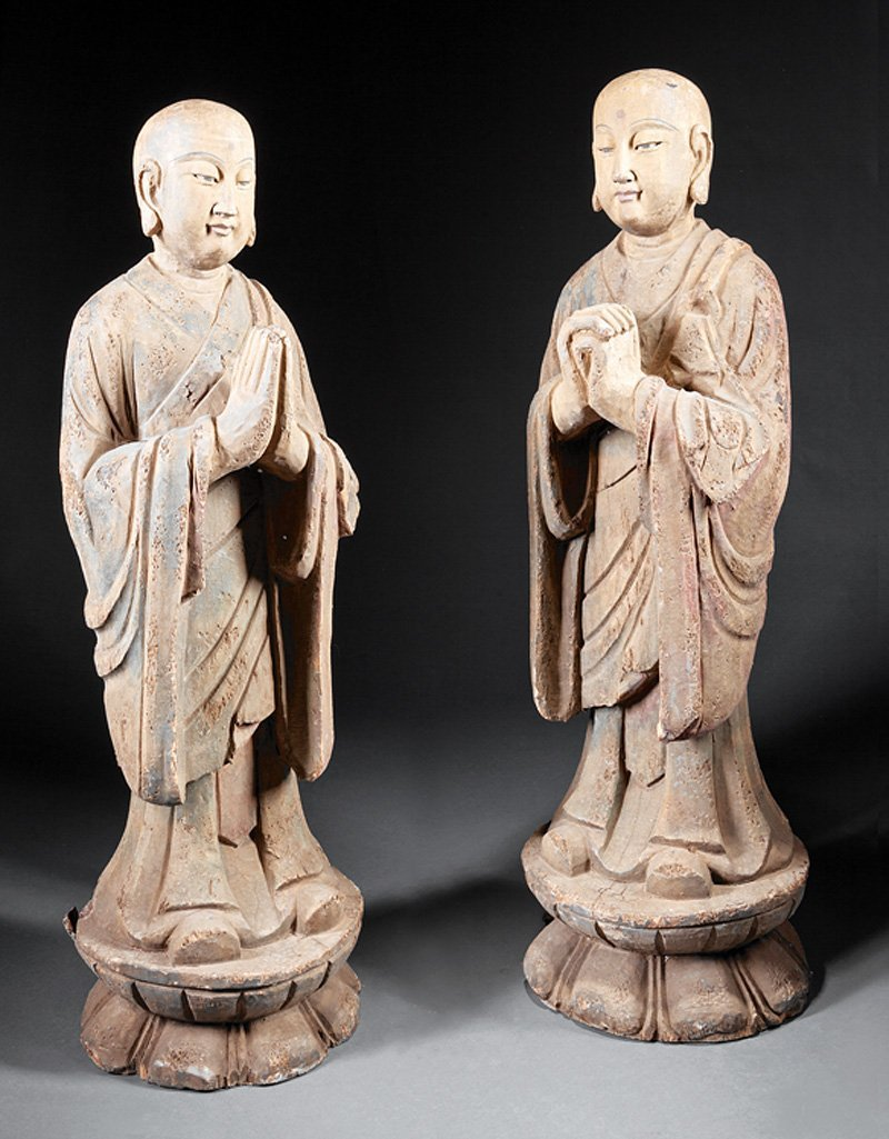 Chinese Polychrome Lacquered Wood Figures Luohans