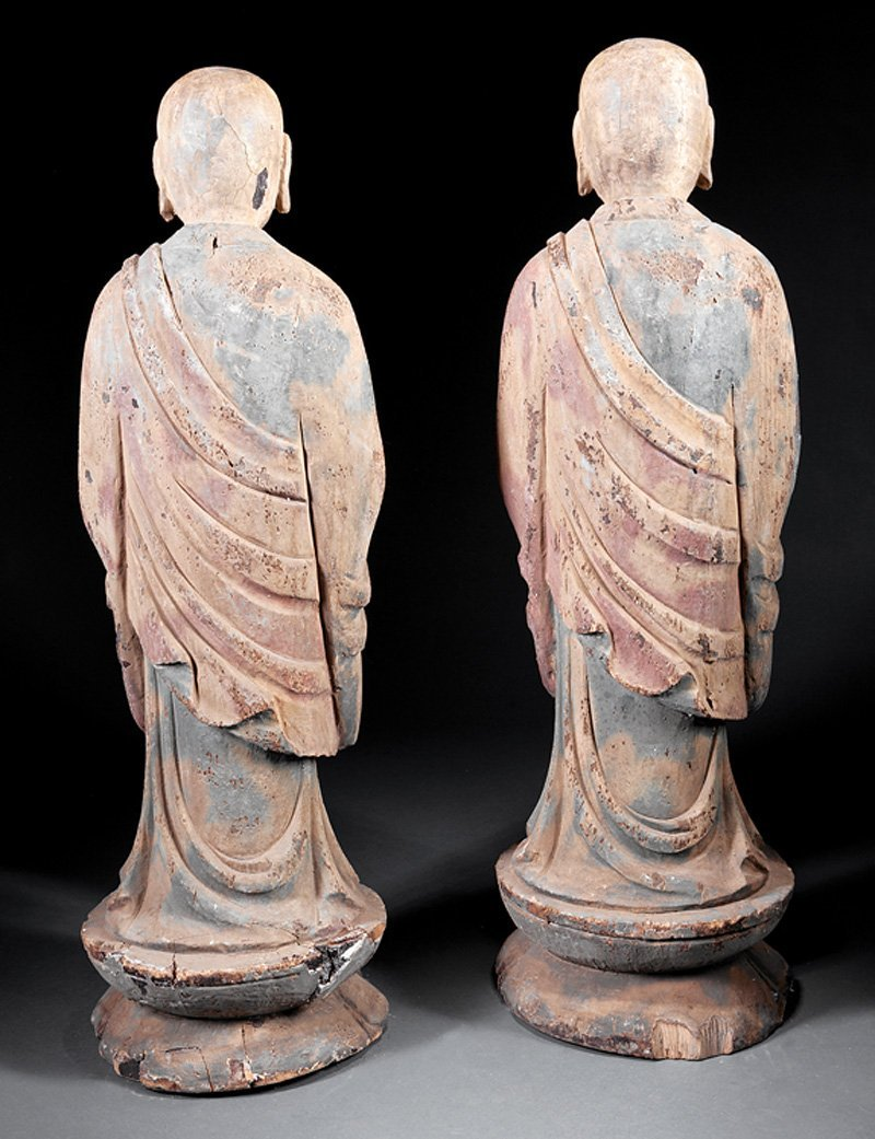 Chinese Polychrome Lacquered Wood Figures Luohans - 2