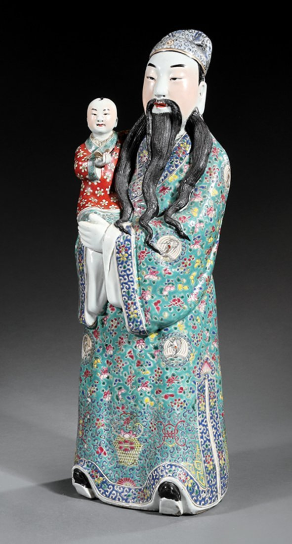 Chinese Enameled Porcelain Figure of Fuxing