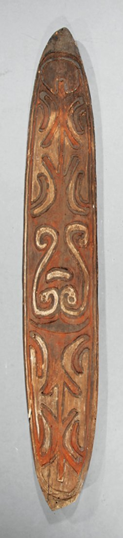 Oceanic Polychrome Painted Carved Wood Shield
